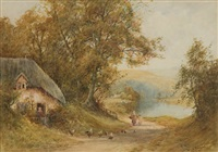 cottage scene with farm animals (+ another; pair) by wiggs kinnaird