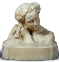 büste einer ihr haar flechtenden jungen frau by heinrich krippel