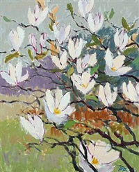 landscape with magnolia in blossom by per flemming
