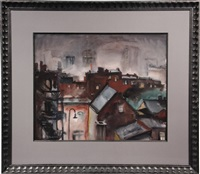winter rooftops of brooklyn by gene (charles eugene) klebe