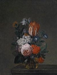 ein blumenbouquet in einer glasvase by nicolaes van veerendael