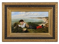 boy reading on a bluff overlooking a beach by american school (19)