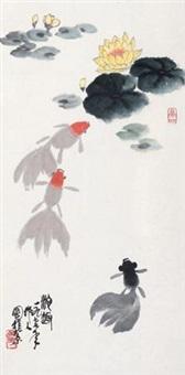 池趣 立轴 设色纸本 by wu zuoren