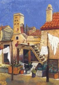 hinterhof mit terrasse mit blumen und wäscheleine by desiderius fangh