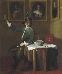 a gentleman in a green coat smoking and drinking in an interior, with a sprig of oak in his hat by jan maurits quinkhardt