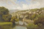 view of knaresborough with figures on the river nidd by edward henry holder