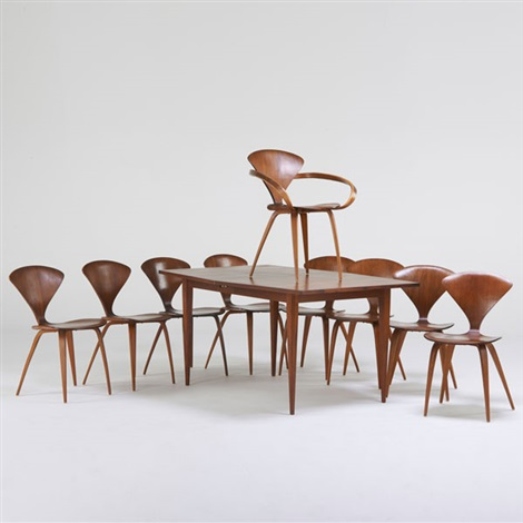 Dining Table With Two Leaves Nine Chairs One Arm Eight Sides - Cherner dining table