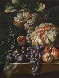 ein früchtestillleben auf einer steinbrüstung by michelangelo di campidoglio