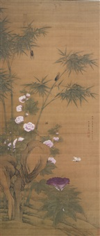 birds and flowers, after yuan dynasty masters by jiang tingxi