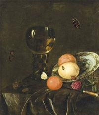 oranges and lemons on a porcelain plate, a roemer filled with wine, chestnuts, roses and insects on a draped table by daniel vertangen