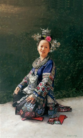 the girl of miao ethic group by liu qiang