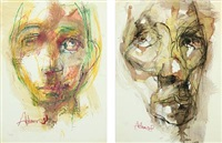 compositions with figures (2 works) by adam gabriel
