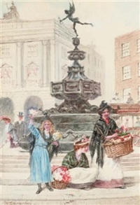 flower sellers in covent garden (+ another; pair) by walter duncan