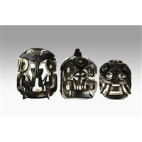jaguar tenon heads, chavin culture, peru (3 works) by miles van rensselaer