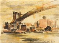 view of the brooklyn bridge by hiroshi honda