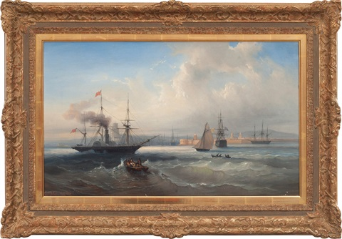 ships off the coast of france by daniel hermann anton melbye