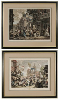 canvassing for votes and southwark fair (2 works) by william hogarth
