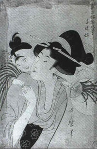 bildnis eines jungen mannes und einer jungen frau, beide  halten einen falken auf der hand by bunro
