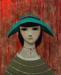 girl with green hat by pelle aberg