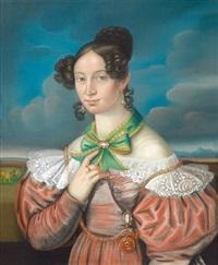 bildnis einer jungen dame in rostrotem kleid und grüner schleife vor wolkenhintergrund by german school-southern (19)