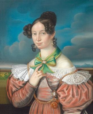 bildnis einer jungen dame in rostrotem kleid und grüner schleife vor wolkenhintergrund by german school southern 19