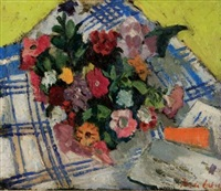 floral arrangement on a chequered blanket by freida lock