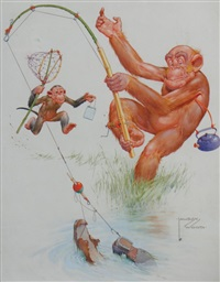 monkey fishing by lawson wood