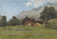 sommerliche alp mit bauernhof by johann-joseph geisser