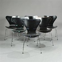 seven chair (model 3107) (set of 6 chairs) by arne jacobsen