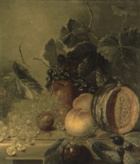 melon, plums, grapes and an apple on a ledge with foliage by w. ward