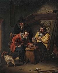 schachspielende herren am kamin by eduard ritter