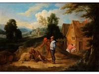 landschaft mit häusern und erzählerischer figurenstaffage by anonymous-flemish (17)