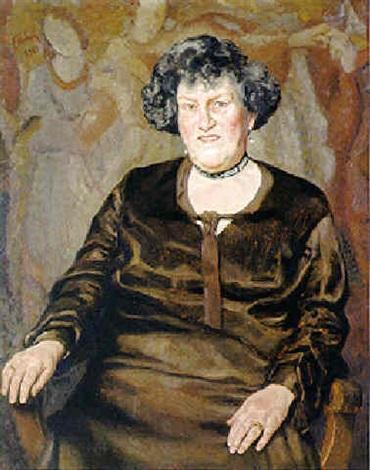 portrait einer älteren dame mit brillant pendeloques und halskette by franz köck