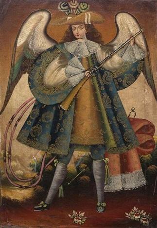 engel der anden nach links gewandt eine flinte haltend by peruvian school cuzco