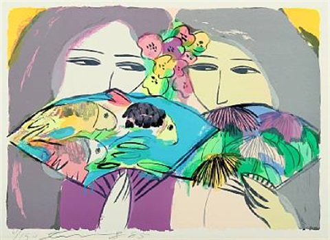 composition with women and budgerigars by walasse ting