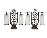 Paar Seltener Art Déco Tischlampen By Edgar Brandt On Artnet