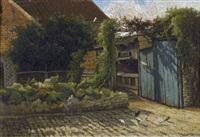 une cour de ferme avec pigeonnier by j. godart-meyer