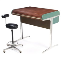 action office desk (+ perch stool; set of 2) by george nelson and robert propst