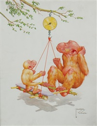 monkeys on weighing scales by lawson wood