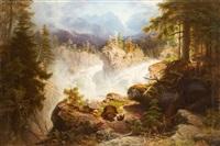 norwegischer wasserfall mit bärenstaffage by georg eduard otto saal