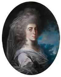 damenporträt. brustbildnis nach rechts vor landschaftlichem hintergrund by john russell