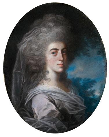 damenporträt brustbildnis nach rechts vor landschaftlichem hintergrund by john russell