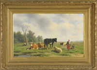 pastoral landscape with cattle and sheep, two figures under tree left, plus mother and son right by willem kooiman