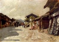 japanese street scene by h. ariyoshi