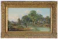 landscape with fishermen on river bank, stone bridge with figures in the distance by john mundell