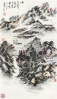 山水 立轴 设色纸本 by lin sanzhi