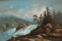mountain landscape with rushing stream by ransom gillet holdredge