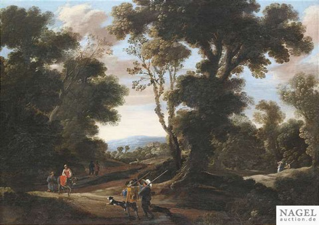 waldlandschaft mit reisenden und jägern by jacques d arthois