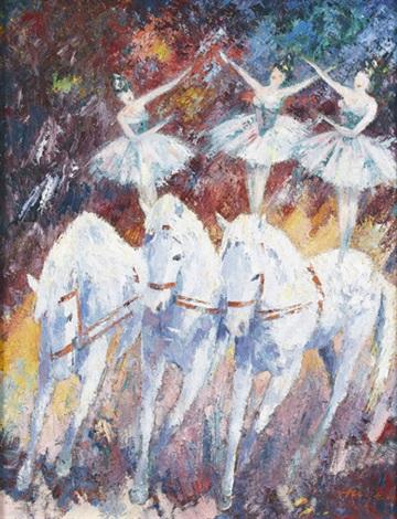 drei tänzerinnen mit pferden in der manege by walter hagen