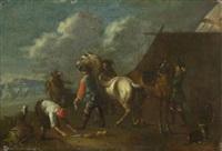 soldaten mit ihren pferden beim hufschmied by johann hermann querfurt